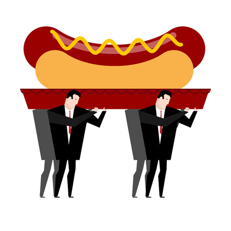 mortician: Funeral hot dog. Fast food is carried in coffin. burial of junk food. Illustration for healthy diet
