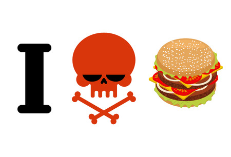 I hate hamburger. Skull symbol of hatred and great burger. I do not like fast food. for healthy lifestyle Illustration