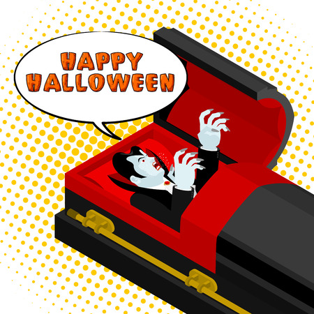 Happy Halloween Dracula screams from grave. Vampire in an open coffin. Illustration for terrible holiday Illustration