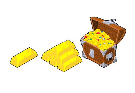 precious metal: Chest with gold. Golden bullion. Piece of precious metal. Set wealth Illustration
