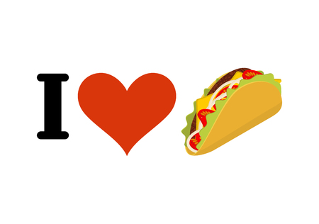 fastfood: I love taco. Heart and traditional Mexican food. Tortilla chips and onion. Tomato and fresh meat. for fastfood lovers