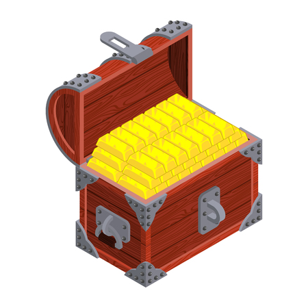 wood crate: Chest with gold. Ancient pirate chest of golden bullion . Vintage chest isolated wealth