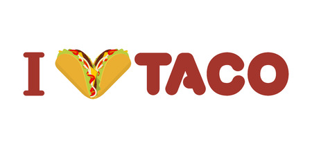 I love taco. Heart symbol of Mexican food. Tortilla chips and onion. Tomato and fresh meat. for fastfood lovers Vector Illustration