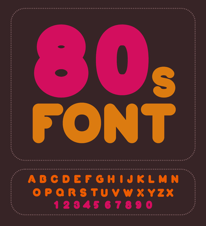 nostalgy: 80s font. Retro alphabet. Vintage rounded alphabet. Disco Letters. Hipster lettring. Old typography