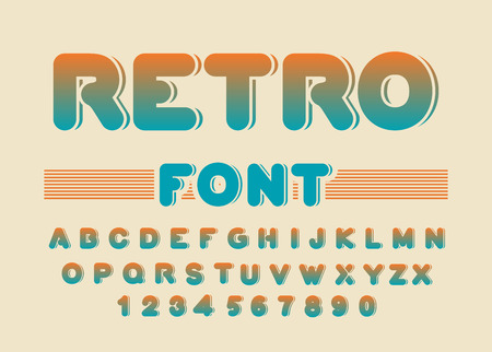 Retro font. Vintage rounded alphabet. Disco alphabet. Letters from 80s. Hipster lettring. Old typography Çizim