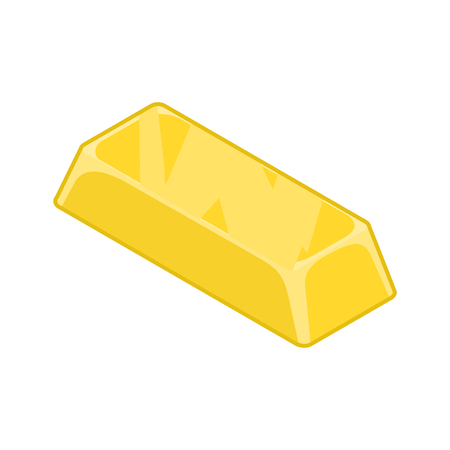 Ingot of gold isolated. Cast precious metal on white background. Richness and jewel Illustration