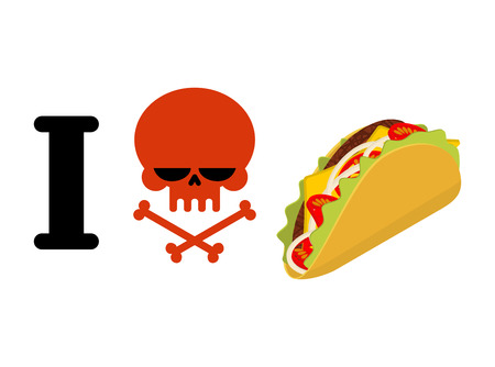 I hate taco. Skull symbol of hatred and traditional Mexican food. Tortilla chips and onion. Tomato and fresh meat. for unfriendliness of spicy food