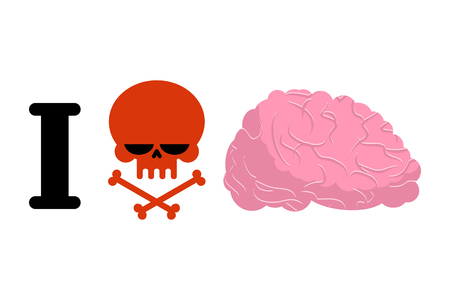I hate to think. Skull symbol of hatred and brain. for bullies. Aversion to reflect