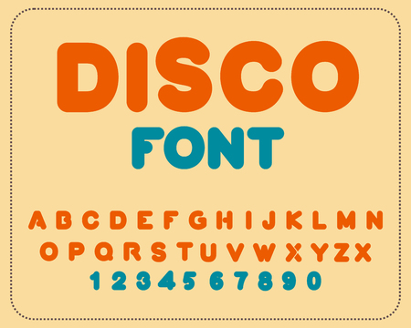 nostalgy: Disco font. Retro alphabet. Vintage rounded alphabet. Letters from 80s. Hipster lettring. Old typography Illustration