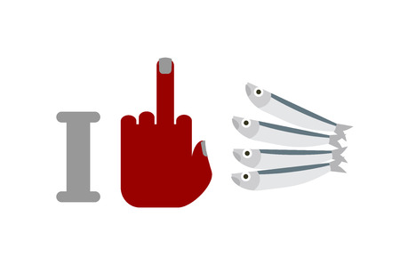 I hate anchovies. middle finger and small fish. for allergic to seafood Stock Illustratie