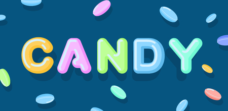 Candy typography. Sweet letters. Lollipops lettring. caramel
