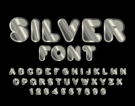argent: Silver font. ABC of argent. Precious metal alphabet. Metallic shimmering letters. Steel lettering Illustration