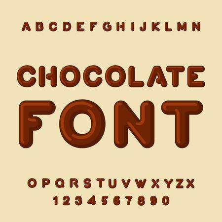 Chocolate font. Dessert ABC. Sweet alphabet. Brown letter. confection letterinng