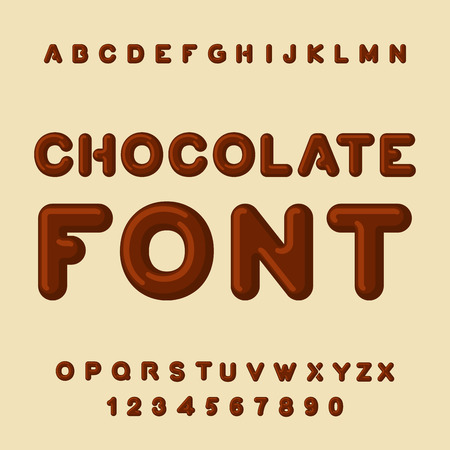 Chocolate lettertype. Dessert ABC. Sweet alfabet. Brown brief. confectie letterinng Stock Illustratie