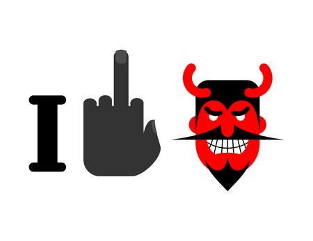 sarcastic: I hate Satan. middle finger and red devil with horns. Emblem for lovers of God Illustration