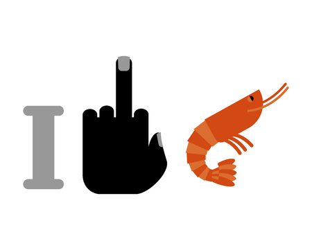 plancton: I hate shrimp. midlle finger and plankton. for allergic to seafood Vectores