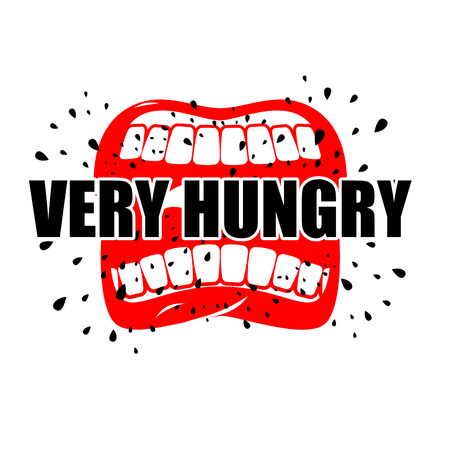 Very hungry. Open mouth with his lips. for empty. Man chewing food Illustration