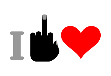 emotional stress: I hate love. middle finger and heart.  for unfortunate love Illustration