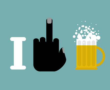 temperance: I hate alcohol.  middle finger and beer mug.  for temperance societies. Emblem Alcoholics Anonymous Illustration