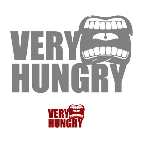 gluttonous: Very hungry. Open mouth with his lips. for empty. Man chewing food Illustration