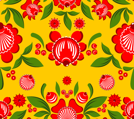 craft ornament: Gorodets seamless pattern. Floral ornament. Russian national folk craft. Traditional decoration painting in Russia. Flowers and leaves texture. Retro ethnic decor