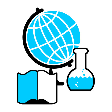 Science . Globe and laboratory flask. Book and test tube research. Tutorial and scientific glassware for experiments. Emblem for education university
