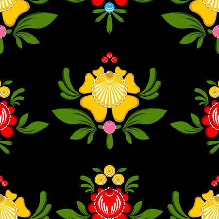 craft ornament: Gorodets painting seamless pattern. Floral ornament. Russian national folk craft. Traditional decoration painting in Russia. Flowers and leaves texture. Retro ethnic decor