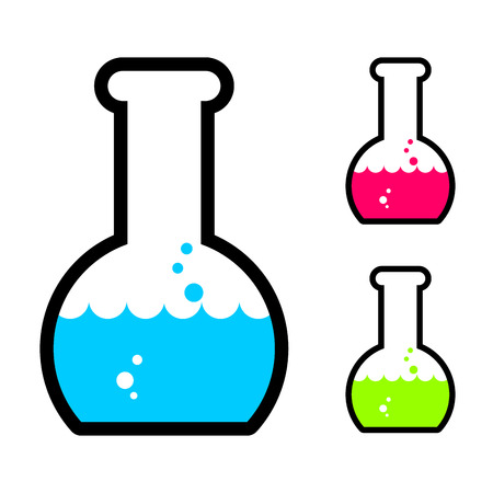 Laboratory flask with acid. Tube for research. Scientific glassware for experiments Illustration