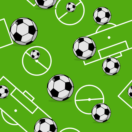 Soccer ball seamless pattern. Sports accessory ornament. Football background. Texture for sports team game with ball Illustration