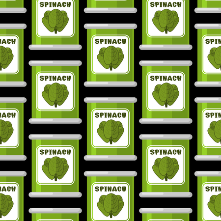 vegetable tin: Spinach in tin seamless pattern. Useful greens ornament. Green lettuce texture. organic vegetable background