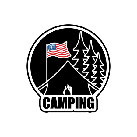 forest fire: American Camping . Emblem for accommodation camp. USA flag. Landscape with tent and forest. Fire at booth Illustration