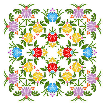 traditional culture: Gorodets painting pattern. Floral ornament. Russian national folk craft. Traditional culture painting in Russia. Retro ethnic decor rose and berry Illustration