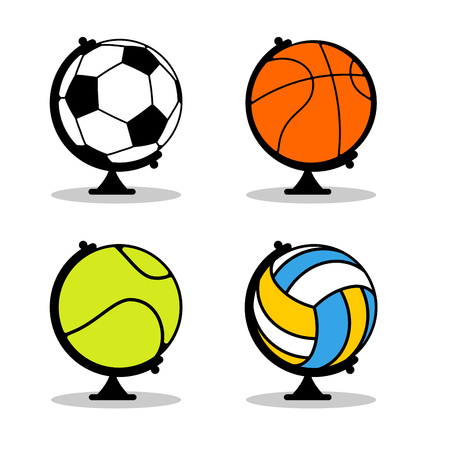 Sports Globe set. Balls in Earth sphere. Basketball and football. Tennis and volleyball. Planet Sports. World game Vetores