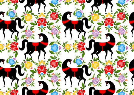 craft ornament: Gorodets painting Black horse and floral seamless pattern. Russian national folk craft ornament. Traditional decoration texture painting in Russia. Flowers and leaves background. Retro ethnic decor