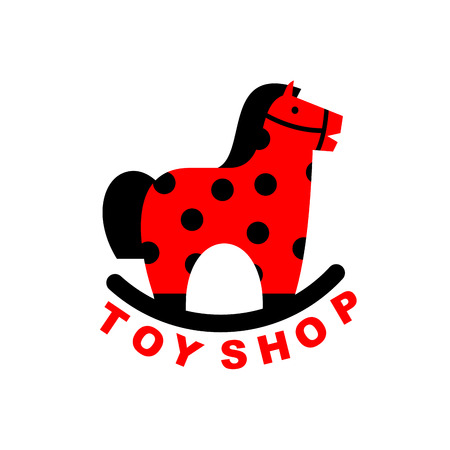 toy shop: Toy Shop rocking horse. Kids toy horse . hoss for children. Emblem for the childrens store