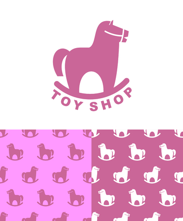 wooden horse: Toy Shop rocking horse. Set emblem and pattern for childrens store. Kidss toy hoss apples. vintage fun. Retro plaything Illustration
