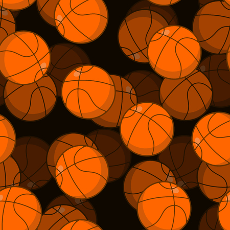 Basketball 3D seamless pattern. Sports accessory ornament. Basketball volume background. Orange spherical. Texture for sports team game with ball