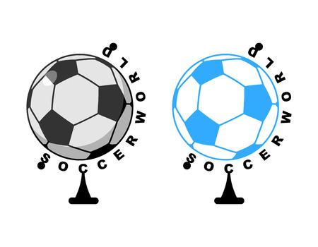 World football. Globe Soccer ball game. Sports accessory as earth sphere. Scope football game