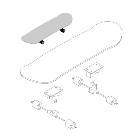 specification: Skateboard structure. Board for skiing specification circuit. Transparent scheme of composition of deck and rolls for skateboarding. Sports tool to perform various tricks