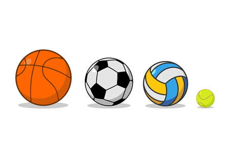 Sports ball set. Basketball and football. Tennis and volleyball. Sports equipment for games