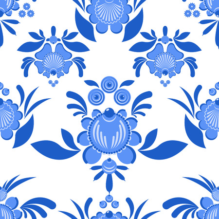 craft ornament: Gzhel flower seamless pattern. Flowers and leaves ornament. Russian national folk craft. Traditional decoration painting in Russia. Flowers and leaves texture. Retro ethnic decor Illustration