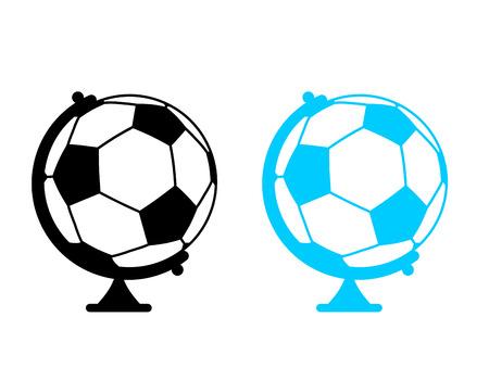 football ball Globe. World game. Sports accessory as earth sphere. Scope Soccer game