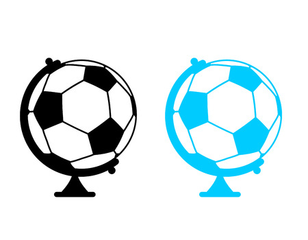 football ball Globe. World game. Sports accessory as earth sphere. Scope Soccer game