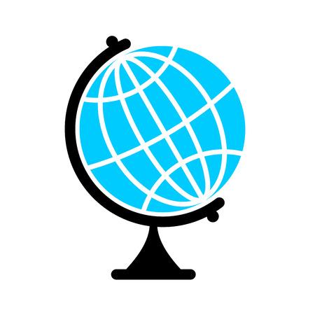 flat earth: Globe Flat icon. Earth ball character. Planet earth sign Illustration