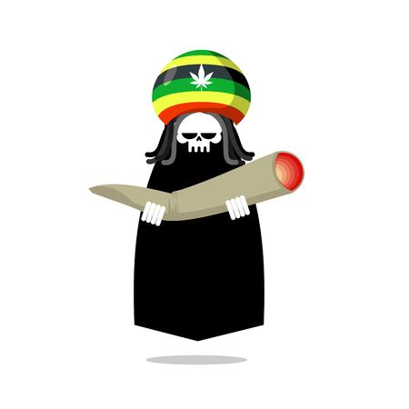 dreadlocks: Rasta death offers joint or spliff. Rastafarian dreadlocks skull and beret. Grim Reaper for Rastafarians. Jamaican demon holding marijuana and smoking drugs