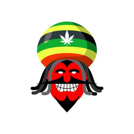 rasta hat: Rastaman devil. Rasta cap and dreadlocks. Satan for Rastafarians. Red devil in beret. Jamaican demon