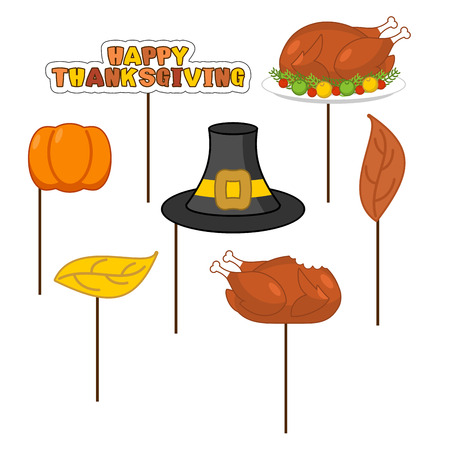 Thanksgiving Set photo props for photo shoot. Elements for photographing. Roasted turkey and fresh pumpkin. Pilgrim hat and autumn leaves. Traditional festive sign. Symbol Historic national holiday