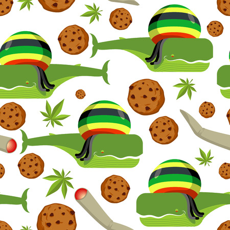 rasta hat: Rasta whale and cookies seamless pattern. Large marine animals in Rastafarian hat ornament. Long black dreadlocks. Stoned drug blower. jamaica beast background