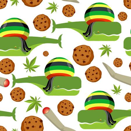 Rasta whale and cookies seamless pattern. Large marine animals in Rastafarian hat ornament. Long black dreadlocks. Stoned drug blower. jamaica beast background