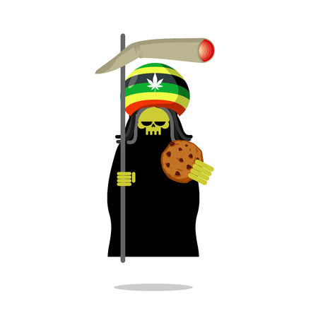 narcotic: Rasta death offers cookies and joint or spliff. Rastafarian dreadlocks skull and beret. Grim Reaper for Rastafarians. Jamaican demon holding biscuit and marijuana and smoking drugs. ganja skeleton
